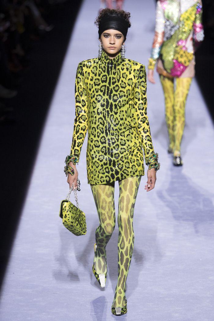 Желтое платье с леопардовым принтом Tom Ford