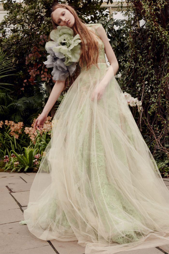 Зеленое свадебное платье Vera Wang