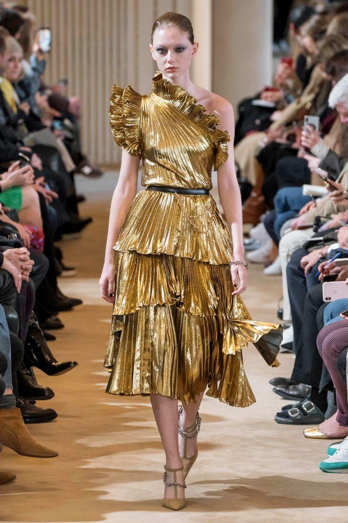 Золотое блестящее платье Altuzarra