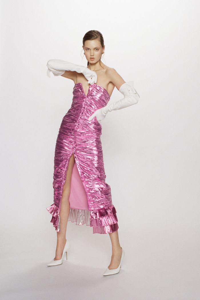 Розовое блестящее платье Attico