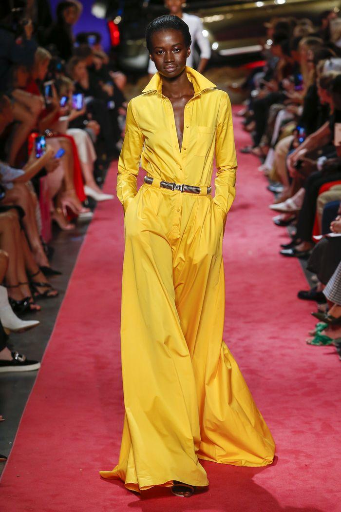 Желтое платье-рубашка Brandon Maxwell