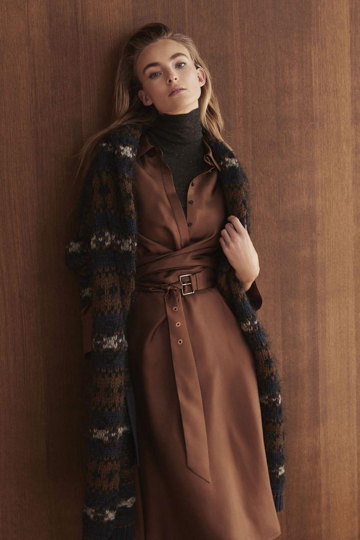 Коричневое платье Brunello Cucinelli