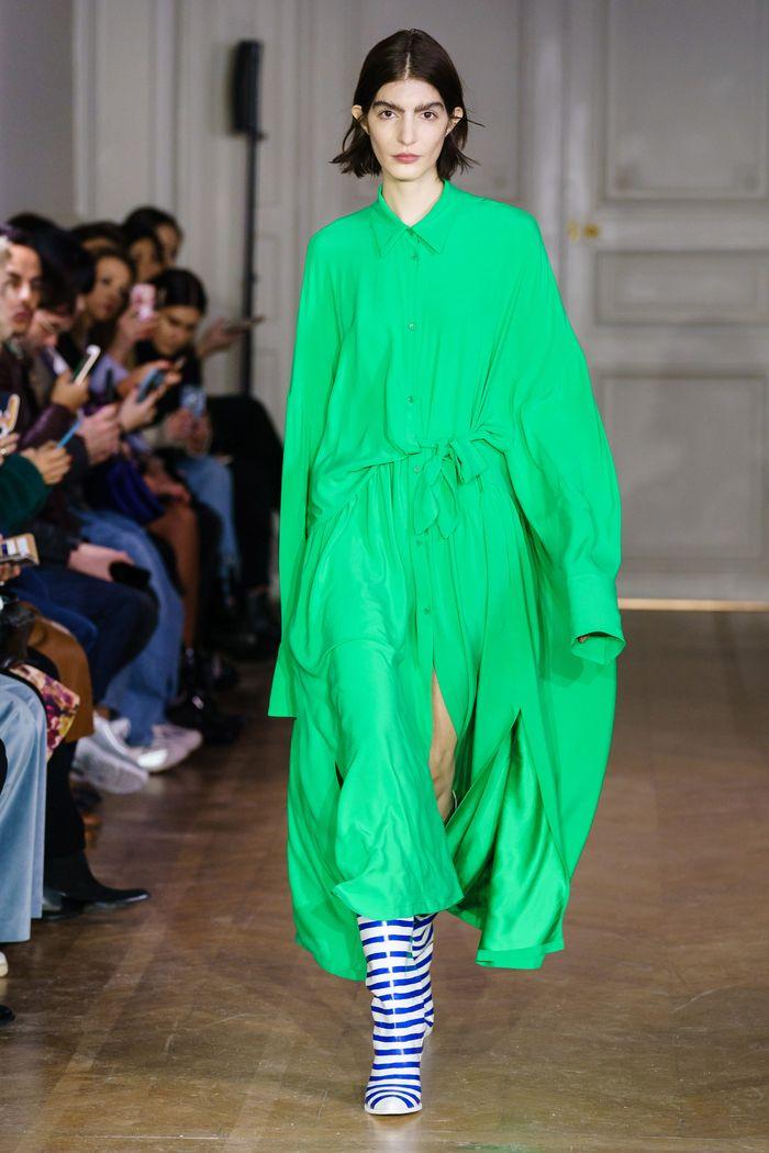 Зеленое платье-рубашка Christian Wijnants