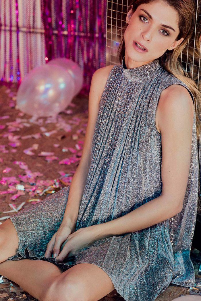 Блестящее платье плиссе Dondup