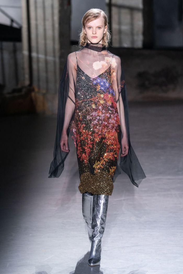 Блестящее платье-комбинация Dries Van Noten