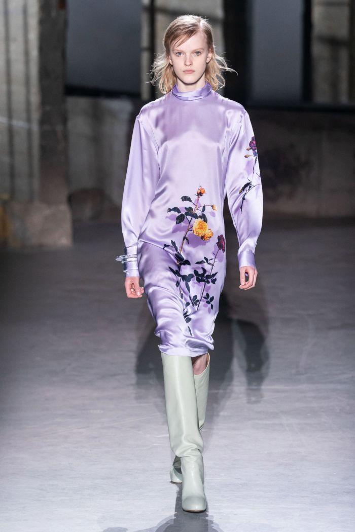Сиреневое платье с цветами Dries Van Noten