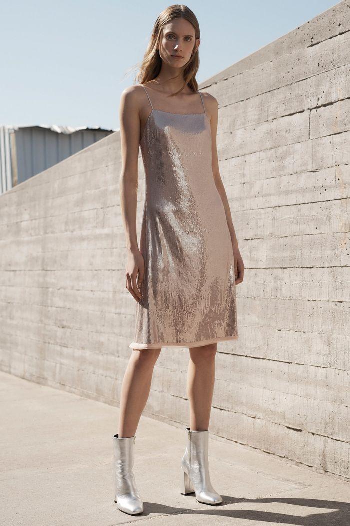 Бежевое блестящее платье Grey Jason Wu