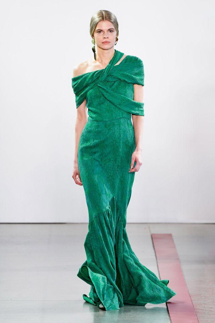 Длинное изумрудное платье Hellessy