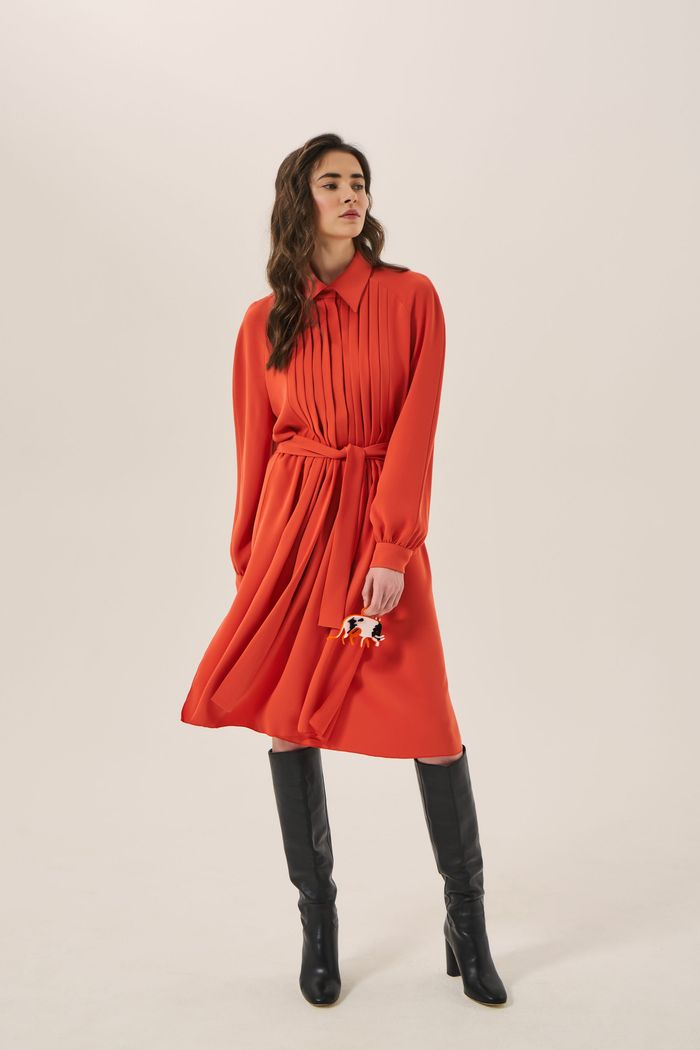 Платье-рубашка плиссе JD. Julia Davidian