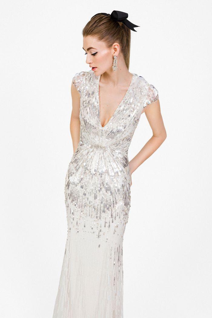 Блестящее свадебное платье Jenny Packham