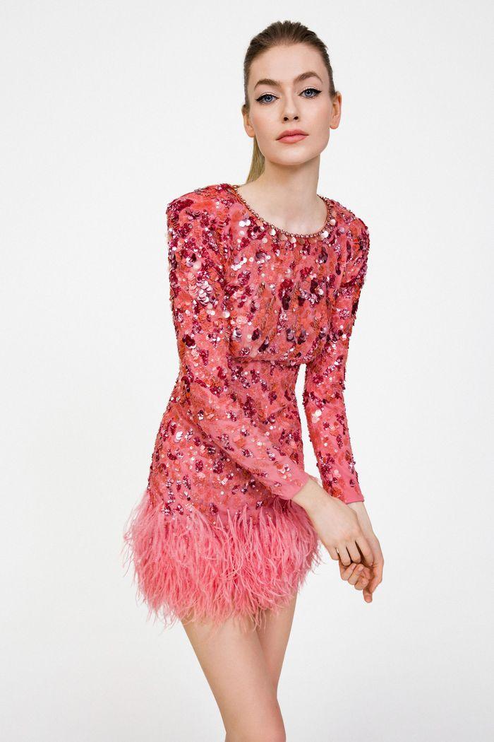 Розовое блестящее платье Jenny Packham