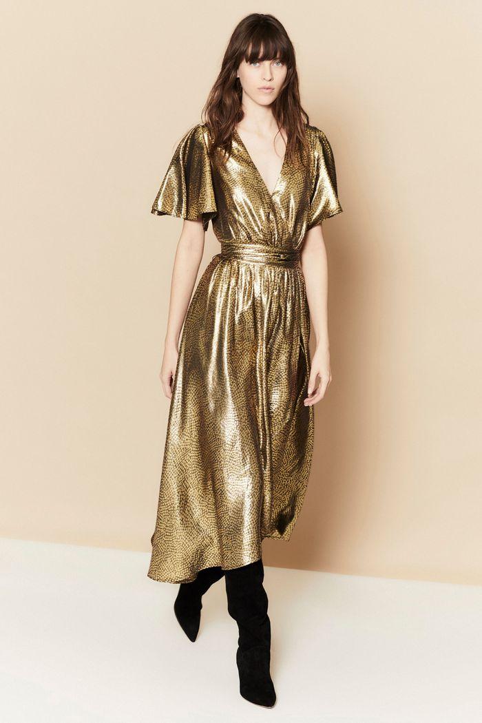 Золотое блестящее платье Joie