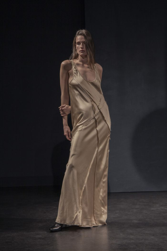 Бежевое платье-комбинация KES