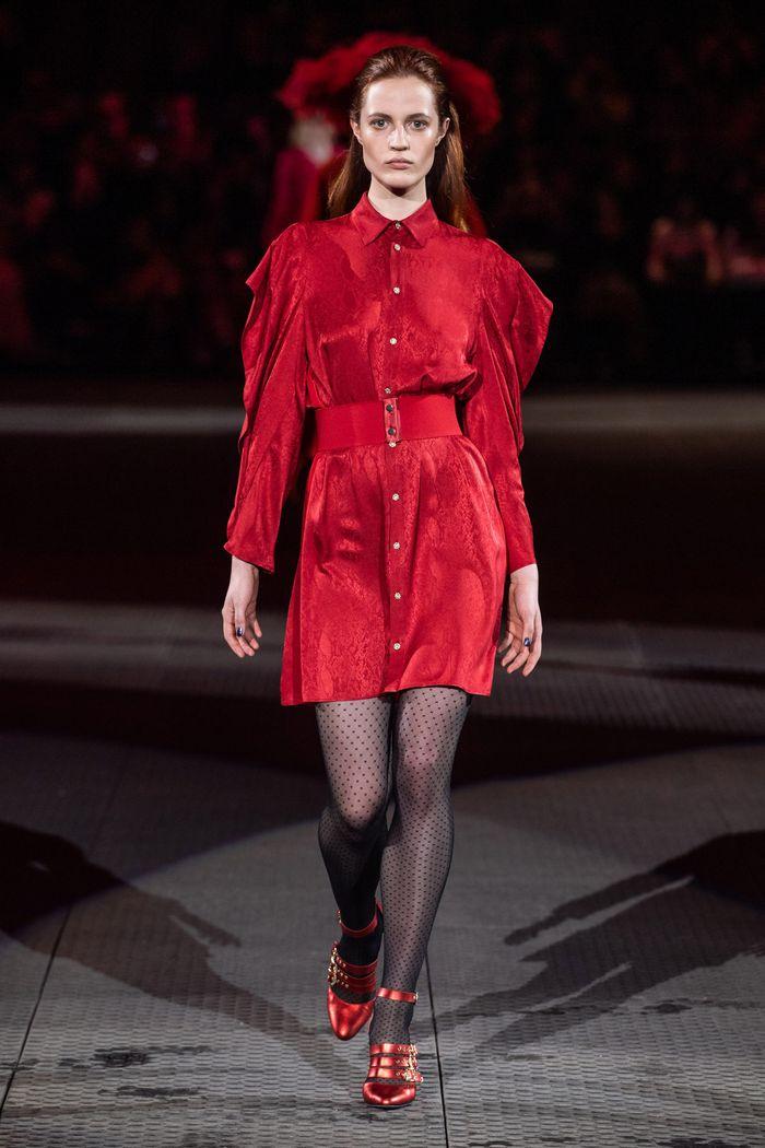 Красное платье-рубашка Koché