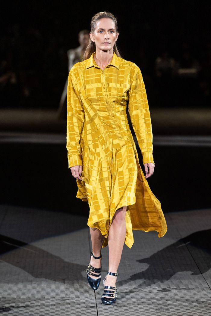 Желтое платье-рубашка Koché