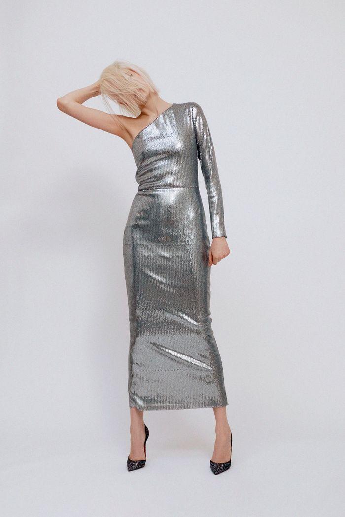 Серебристое платье Martin Grant