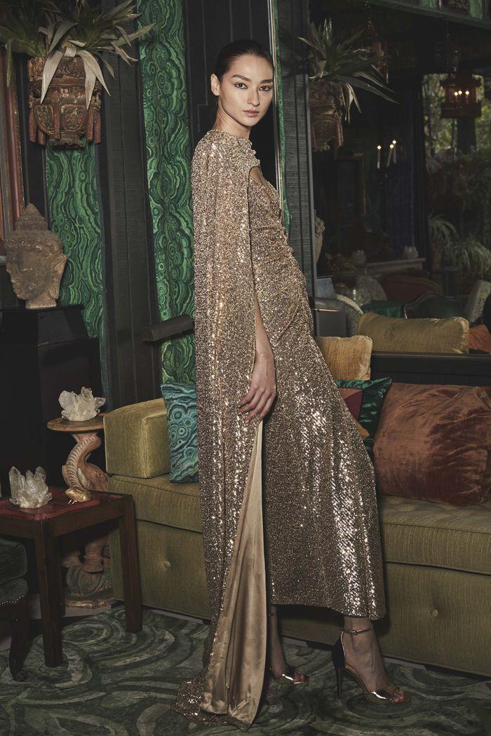 Модное длинное блестящее платье Monique Lhuillier
