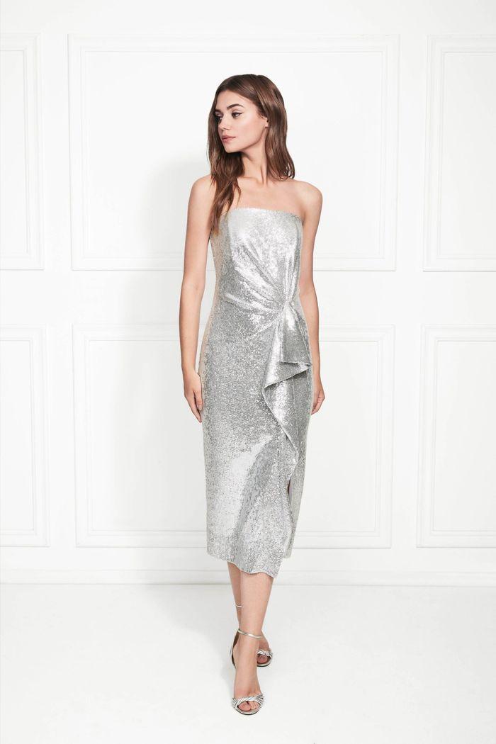 Серебристое платье Rachel Zoe