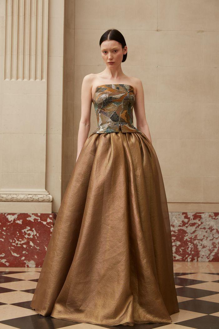 Коричневое вечернее платье Reem Acra