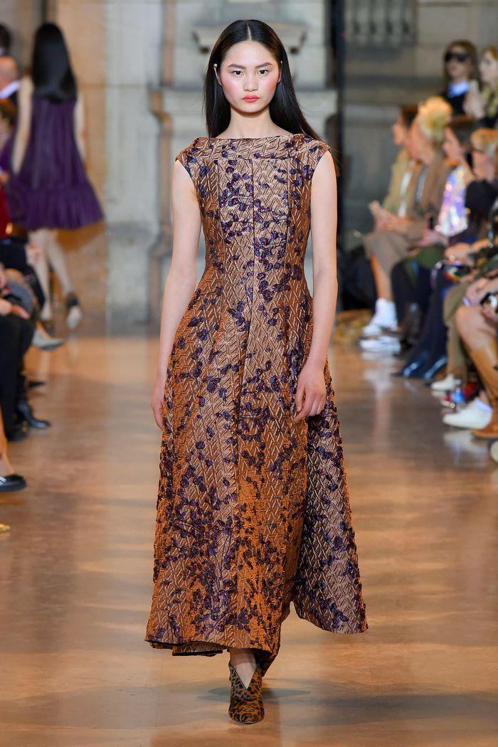 Сине-коричневое платье Talbot Runhof
