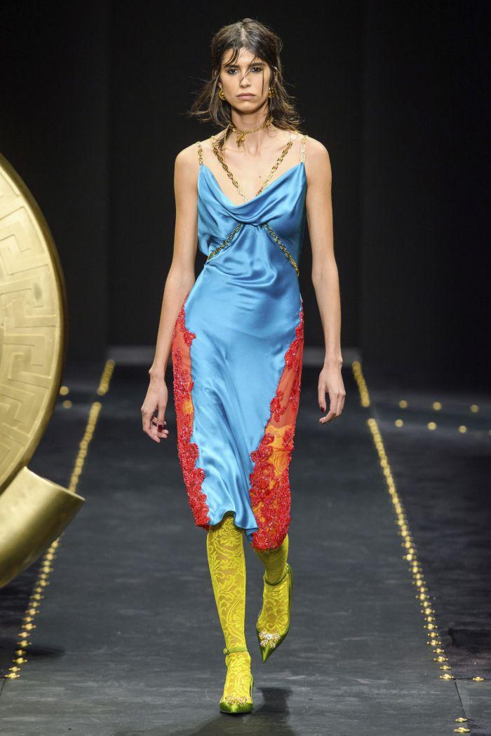 Голубое платье-комбинация Versace