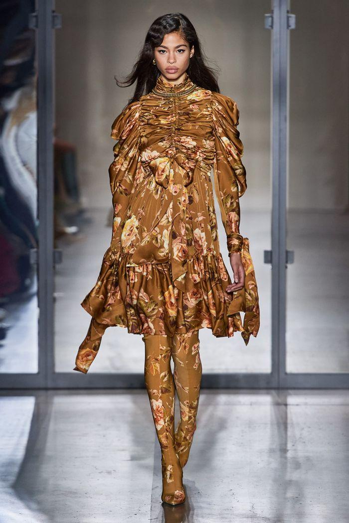 Коричневое платье с цветами Zimmermann