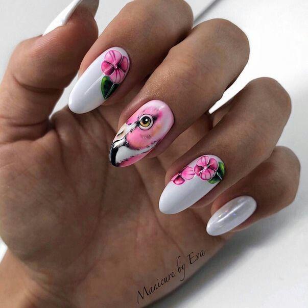 Маникюр фламинго