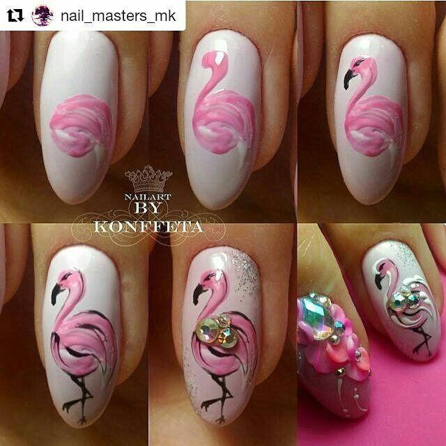 Маникюр с фламинго: пошаговая инструкция с фото
