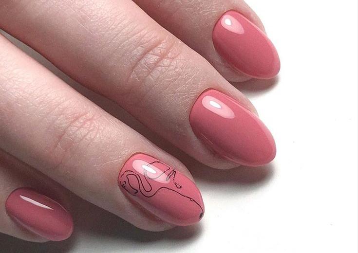Рисунок на ногтях с фламинго