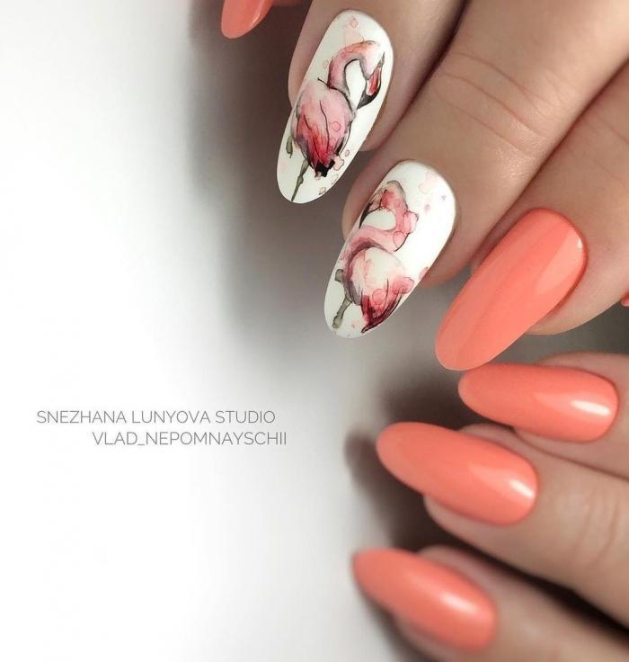 Маникюр с фламинго - 20 красивых летних дизайнов