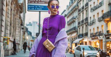 Модное сиреневое платье