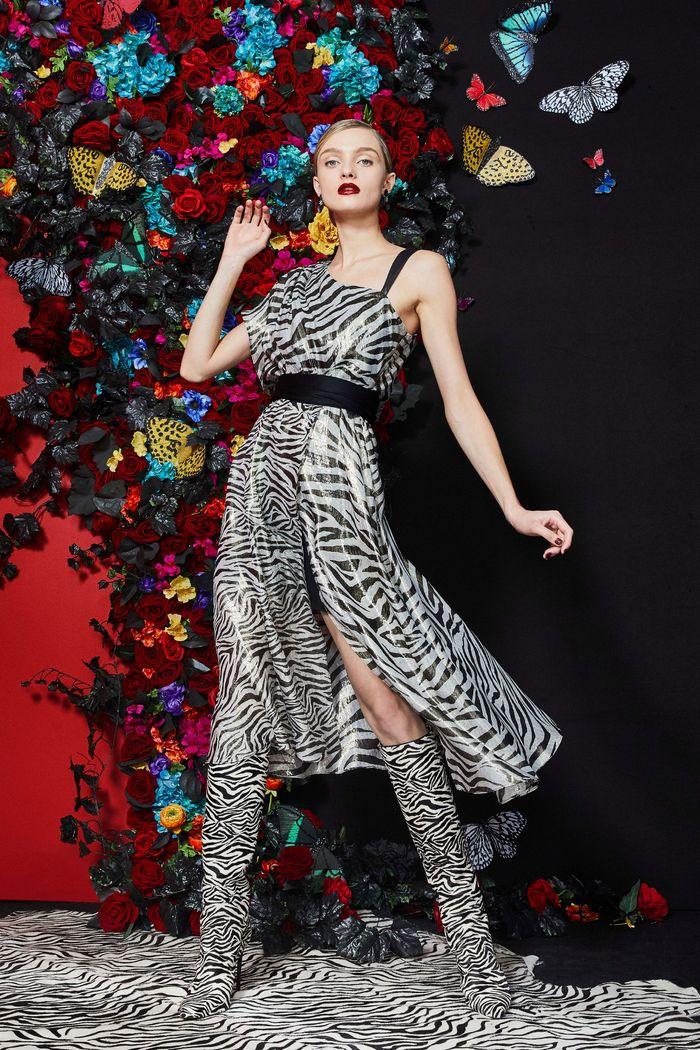 Модное черно-белое платье Alice Olivia