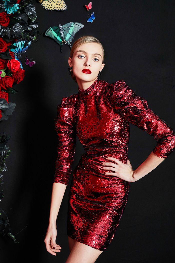Бордовое платье с паетками Alice Olivia