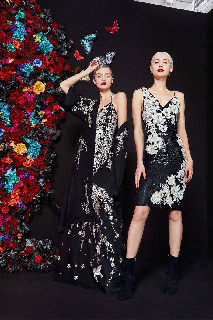 Черно-белое платье с цветами Alice Olivia