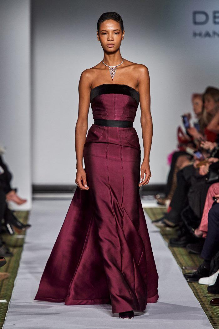 Вечернее бордовое платье Dennis Basso