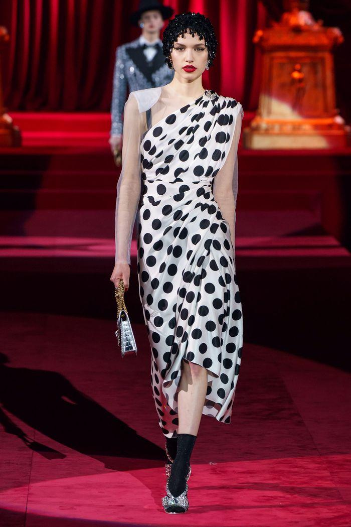 Черно-белое платье в горошек Dolce & Gabbana