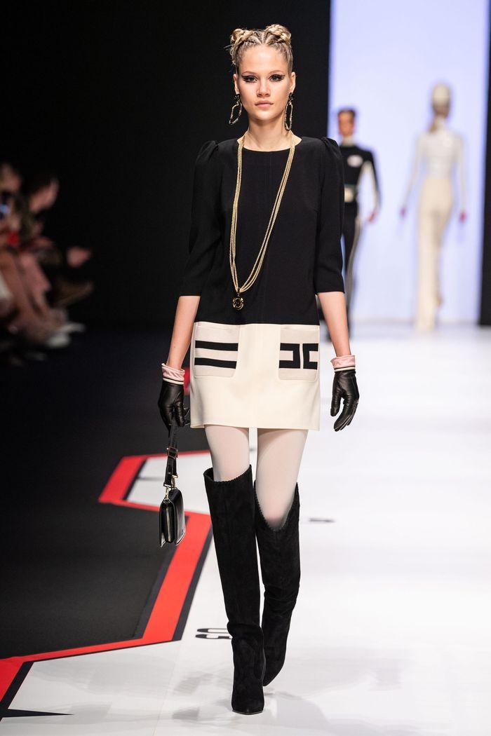 Черно-белое платье Elisabetta Franchi