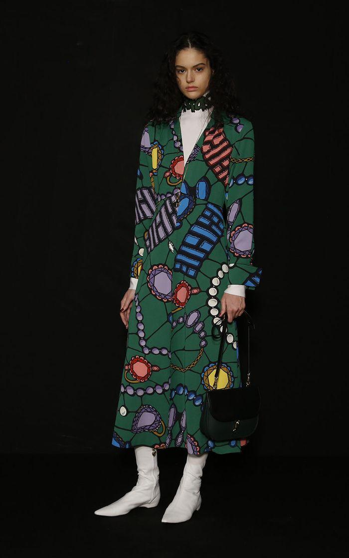 Модное пальто с принтом осень-зима 2019-2020 из коллекции Escada