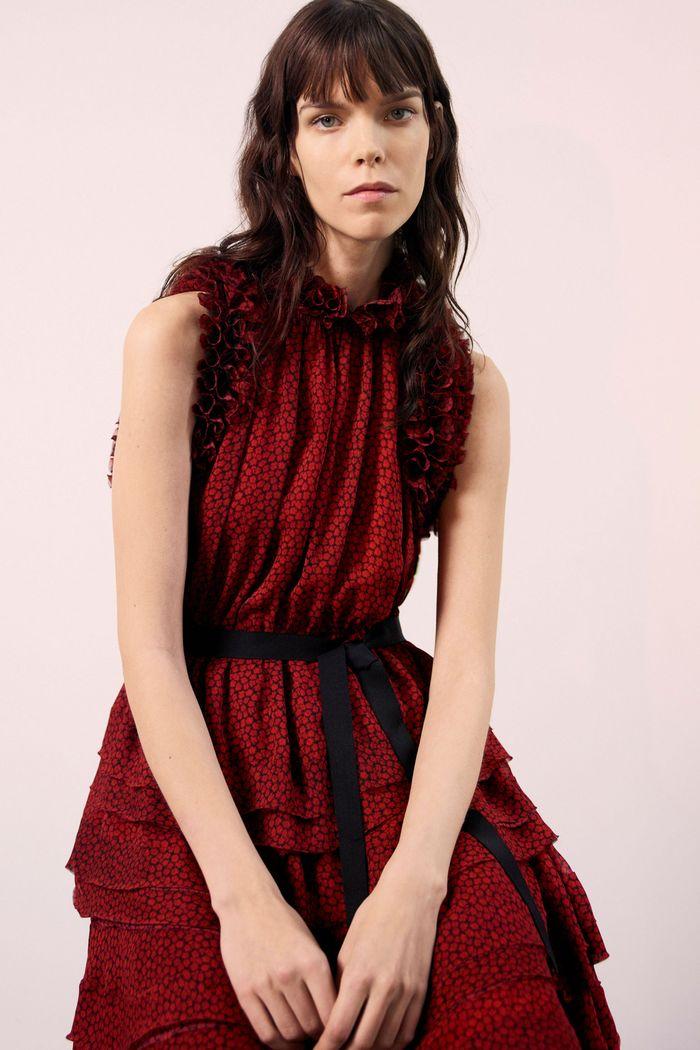 Бордовое платье с оборками Jason Wu