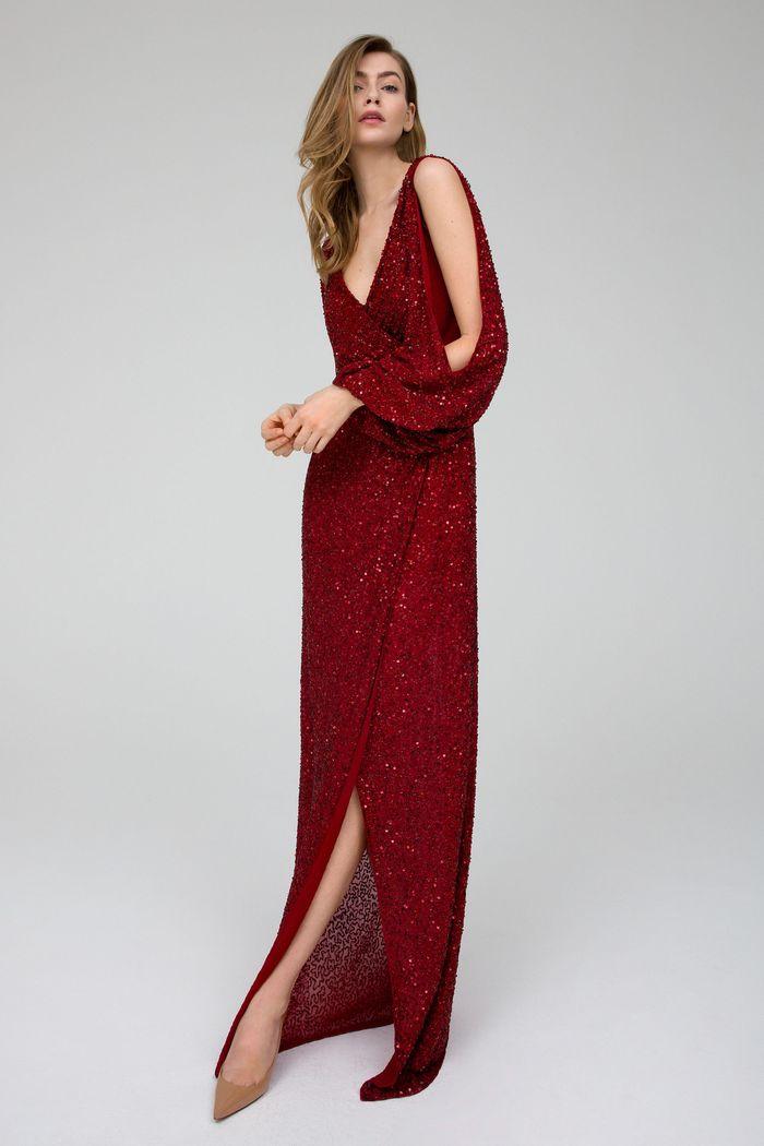 Вечернее бордовое платье Jenny Packham