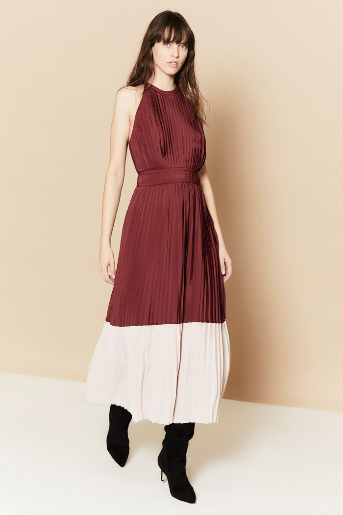 Бело-бордовое платье Joie