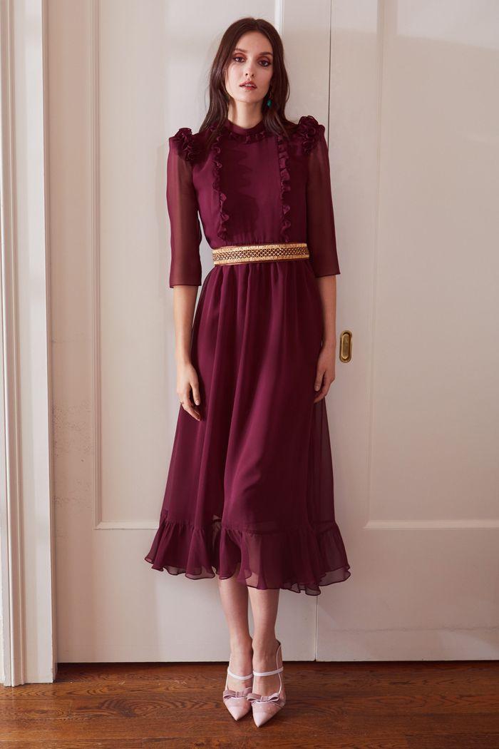 Бордовое платье с оборками Laura Garcia