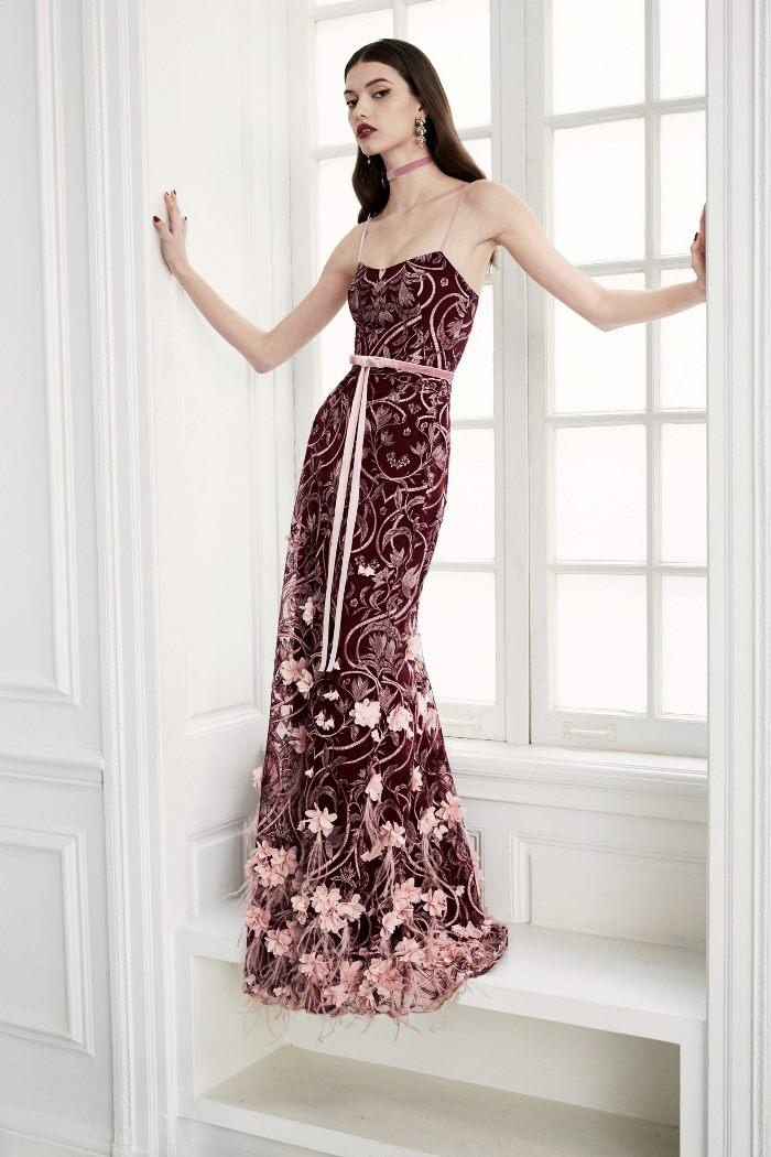 Бордовое свадебное платье Marchesa Notte