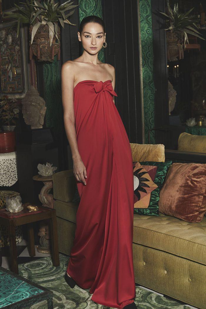 Вечернее бордовое платье Monique Lhuillier