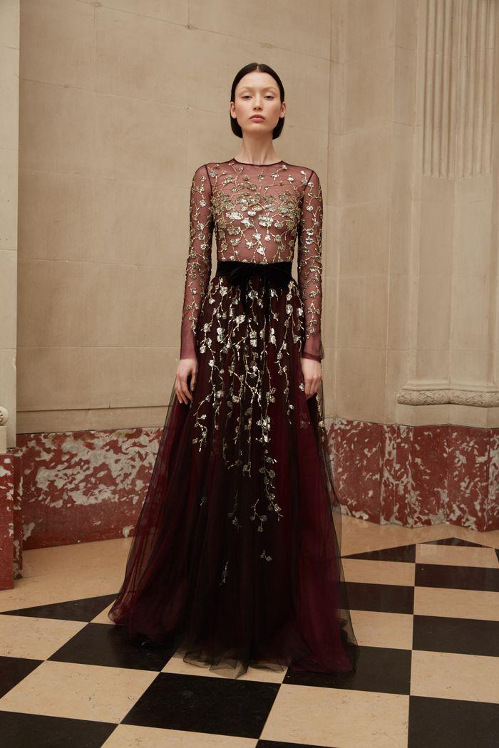 Бордовое свадебное платье Reem Acra