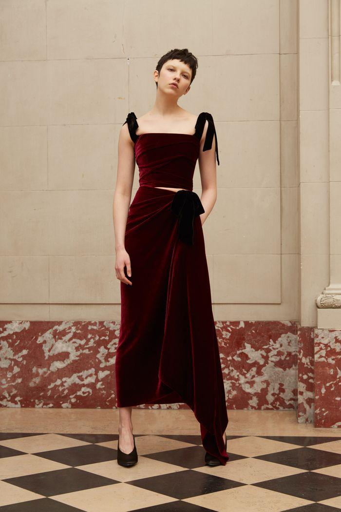 Бордовое бархатное платье Reem Acra