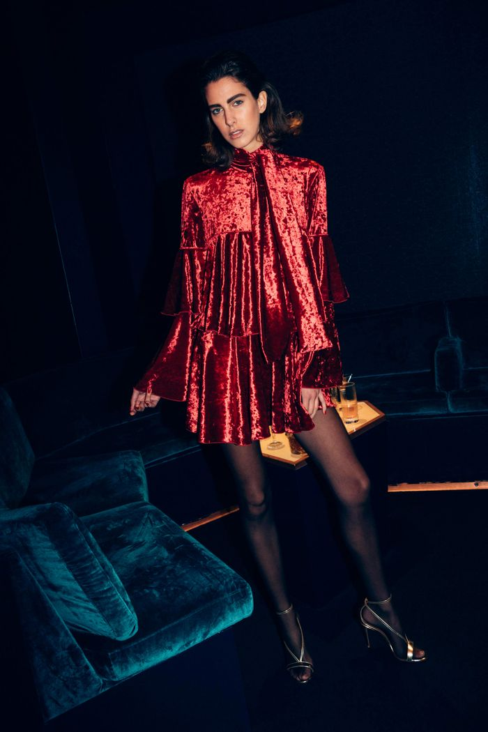 Бордовое бархатное платье Sara Battaglia