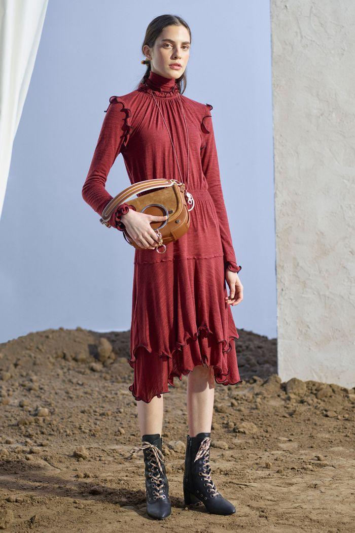 Бордовое платье с оборками See by Chloé