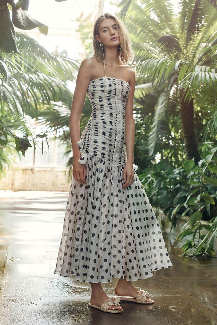 Черно-белое платье в горошек Zimmermann