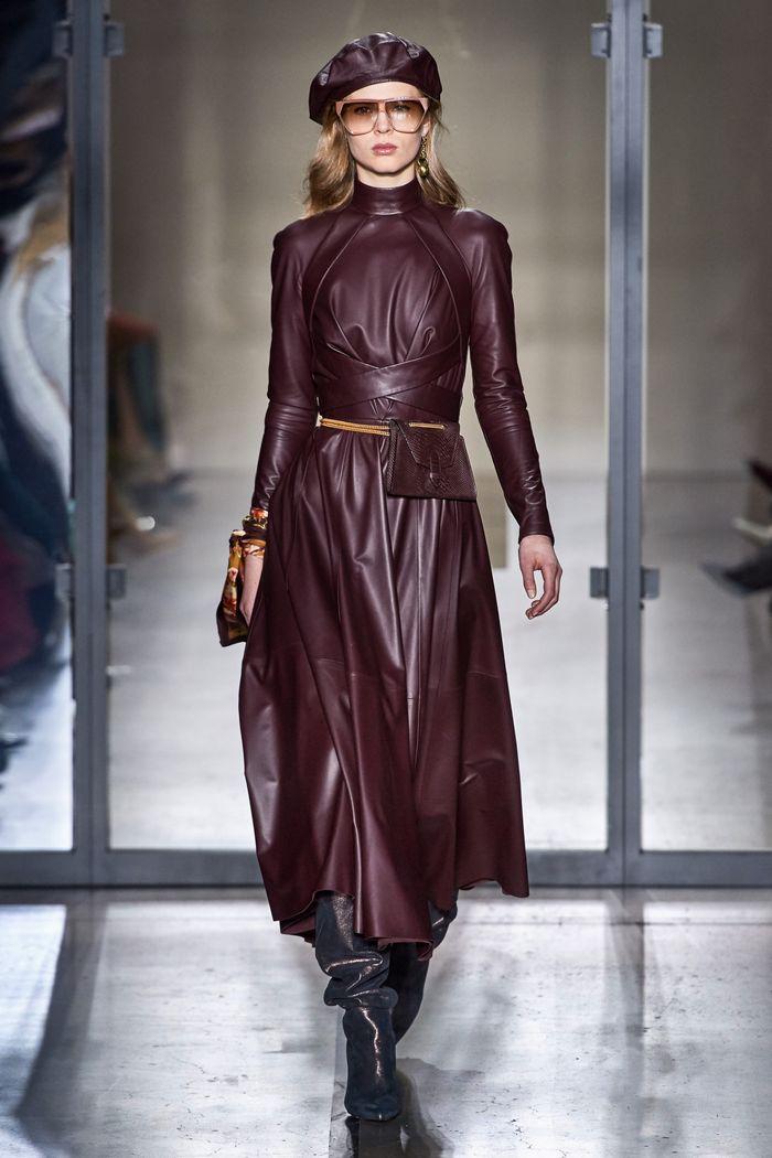 Бордовое кожаное платье Zimmermann